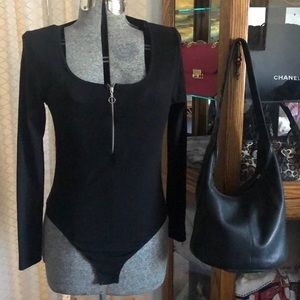 Topshop Black Rib Knit Bodysuit 12
